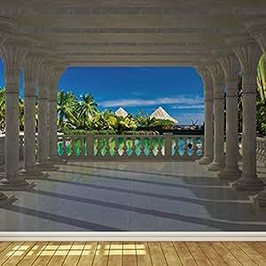 Paradise villas column view 2 wallpaper mural for Amazon mural wallpaper