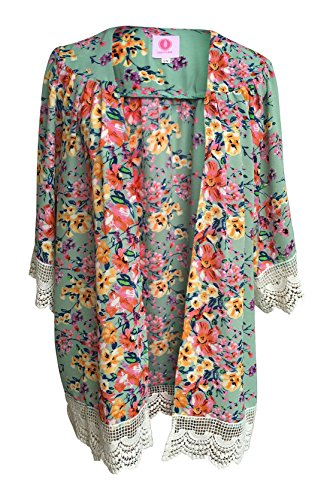 Women's Vintage Floral and Lace Trimmed Chiffon Cardigan Kimono Embroidered Jersey Romper
