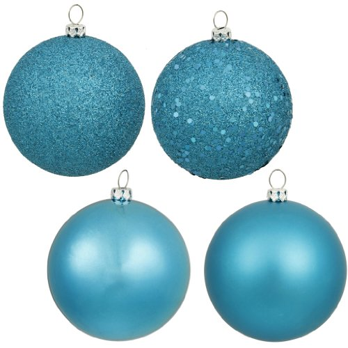 Vickerman 163139 – 1″ Turquoise Shiny Matte Glitter Sequin Ball Christmas Tree Ornament (18 pack) (N590312)