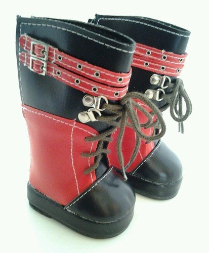 TALL RED AND BLACK BOOTS FOR AMERICAN GIRL DOLLS