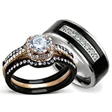 buy His And Hers Wedding Ring Sets - Women'S Halo Design Cz Wedding Rings Sets & Men'S Titanium Matching Wedding Bands (Women'S Size 07 & Men'S Size 11)