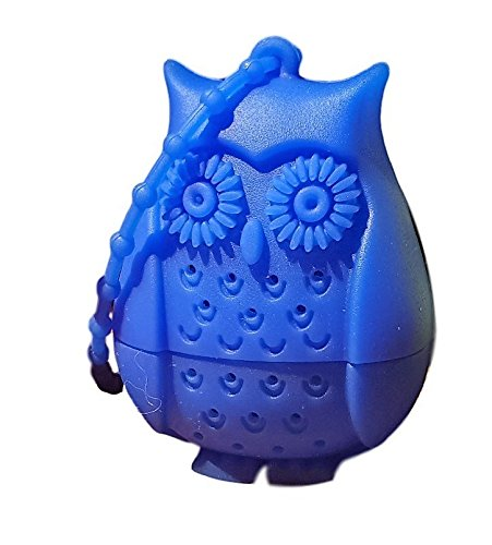 Hoot-Tea Owl Tea Strainer/ Infuser Loose Leaf Tea Maker kitchen Accessory Set of Two by WickedGoodz (Royal Blue)