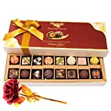 Valentine Chocholik's Belgium Chocolates - Sweet Treat Of Dark And White Chocolates Treats With 24k Red Gold Rose