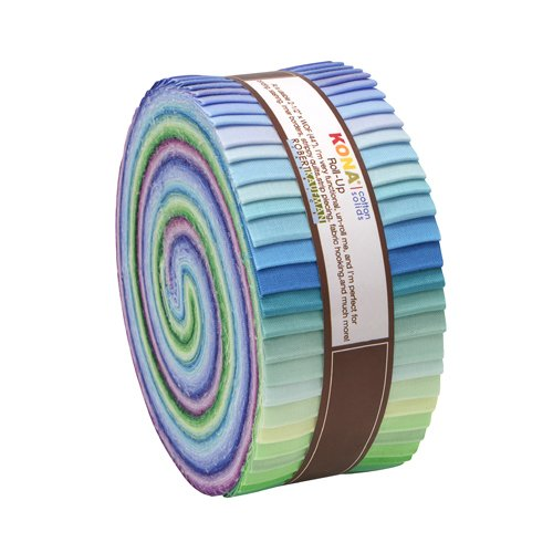 Robert Kaufman Kona Cotton Solids Sunset Colorstory Jelly Roll Up, Set of 43 2.5x44-inch (6.4x112cm) Precut Cotton Fabric Strips