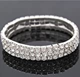 Bridal Rhinestone Stretch Bracelet 3-row Silver Tone - Ideal for Wedding, Prom, Party or Pageant