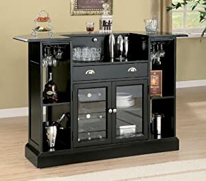 Bar Unit with Wine Rack and Stemware Rack in Black Finish