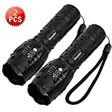 Tactical Flashlight iCoostor T6 Handheld LED Torches Flashlight Super Brightness Waterproof Taclight As Seen On Tv 5 Modes Zoomable Focus For Outdoor (2pcs)