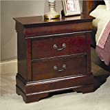 Coaster Louis Philippe Style Night Stand, Cherry Finish ~ Coaster Home Furnishings