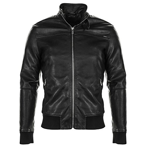 Fresh Brand Mens Casual Faux Leather Jacket (XX-Large, Black) (James Dean Coat compare prices)