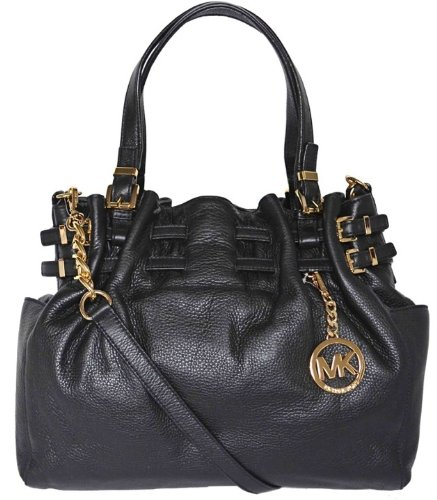 Michael Kors Black Pebbled Leather Edie Large Shoulder Tote Bag Handbag Purse