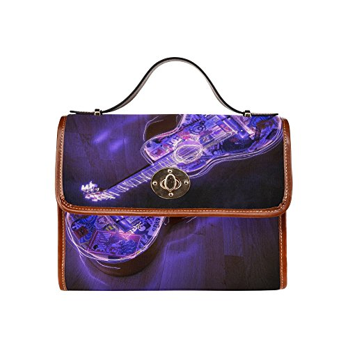 SLsenD Custom Womens Neon Lights Guitar Waterproof Messenger Bag Canvas Bag Clutch Bag (Wendy Adams Family)