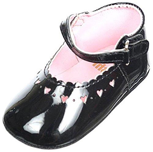 BIG OSHI Baby Girls' Mary Jane Baby Shoes - 016, Black, 0 M US Infant