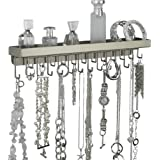 Wall Mount Necklace Holder Hanging Jewelry Organizer Rack - SELECT TO SEE COLORS (Schelon Satin Nickel Silver)