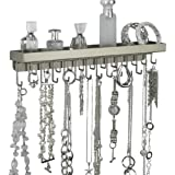 Wall Necklace Holder Jewelry Organizer Closet Storage Hooks - Schelon Necklace Rack (Satin Nickel Silver)