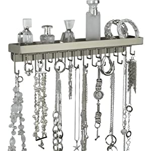 Wall Necklace Holder Hanging Jewelry Organizer Closet Storage Rack Display (Schelon Satin Nickel Silver)
