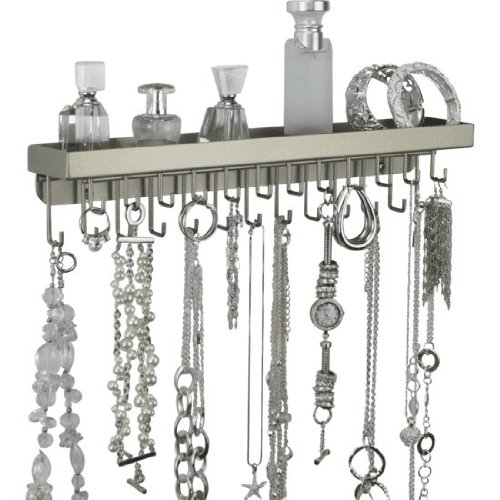 Wall Necklace Holder Jewelry Organizer Closet Storage Bracelet Display - Schelon Necklace Rack (Silver) front-154815