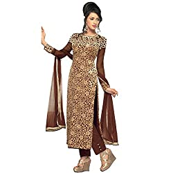 Shoponbit Designer Brown Embroidered Semi-stitched Straight Suit