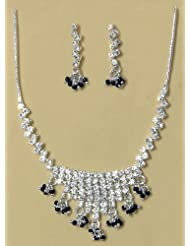 White Stone Studded Necklace And Earring Set - Stone