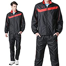 Fuerza Mens Lightweight Track Jacket Pants Built-In Hood Tracksuit - Black/Red (Large)