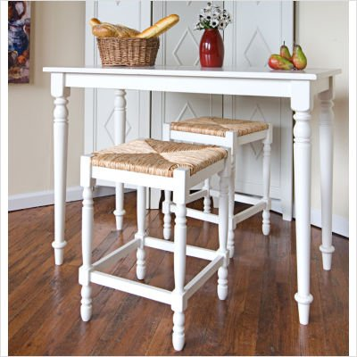 Hawthorne 3 Piece Bar Table Set in Missouri White