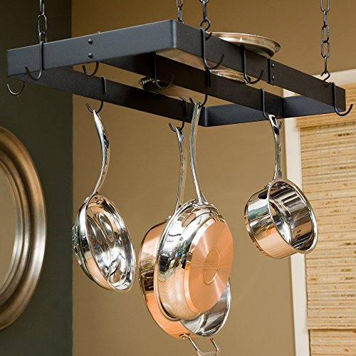 Gourmet Ceiling Mount Pot Rack with Centerbar Finish: Black/Chrome hooks