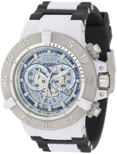 Invicta Men's Subaqua III Chronograph Watch 0924 with Silver Dial and Black Pu Strap