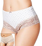 2 Pack Flatter-Me&#8482; Light Control High Leg Brazilian Knickers
