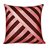 OBLIQUE DESIGN CUSHION COVER BROWN & PINK 1 PC (40 X 40 CMS)
