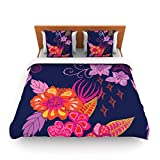 "Kess InHouse Anneline Sophia ""Tropical Paradise"" Purple Floral King Fleece Duvet Cover, 104 by 88-Inch"