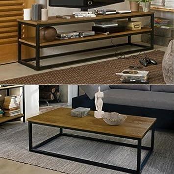 FACTO salón, color roble y metal, 2 piezas de 1 mesa baja rectangular de 1-Mueble para televisor