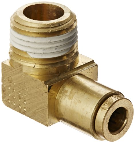 "Eaton Weatherhead 1869X4X6 Brass Ca360 D.O.T. Air Brake Tube Fitting, 90 Degree Elbow, 3/8"" Npt Male X 1/4"" Tube Od"