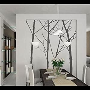 Great Value Wall Decor 4pcs All-matching Removable Wallpaper Wall Stickers with Tree Pattern Large Size Light Gray by Mzamzi