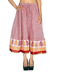 Eye-Catching Casual Skirt Cotton White Floral Printed For Her By Rajrang