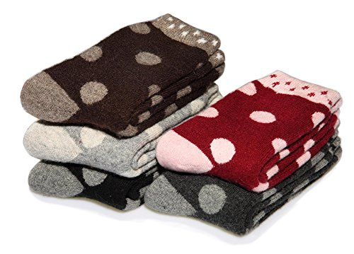 EBMORE Women's Extra Warm Soft Winter Socks Thick and Heavy 5 Pack (Polka Dot) (Extra Thick Womens Socks compare prices)