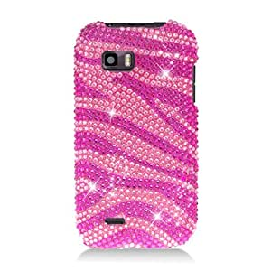 Eagle Cell PDTMMYTOUCHQS302 RingBling Brilliant Diamond Case for Huawei myTouch Q - Retail Packaging - Hot Pink Zebra