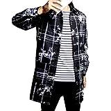 (ヤンググロリ)YOGLY 韓版 かっこいい ジャケット 秋 冬メンズ グレー ファッション アウター 防寒 チェスター コート 紳士服 細身 ロング 長 コート 無地 男性 個性 長袖 ビジネス M~5XL