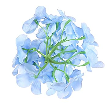 Veryhome 12pcs Blooming Silk Hydrangea Flower Heads for DIY Bouquets,Wedding Centerpieces,Home Decor (Sky blue)