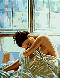 Nude ladies-DIY Painting by number kits 16x20 inch oil painting home decoration picture Frameless beautiful women