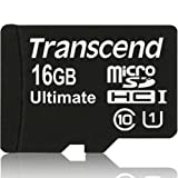 Transcend 16GB Ultimate microSDHC Class 10 UHS-I Memory Card with Adapter