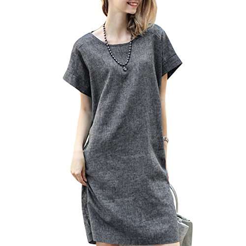 ROPALIA Women Loose Cotton Linen Dress Short Sleeve Tunic Belt Shirt Dress