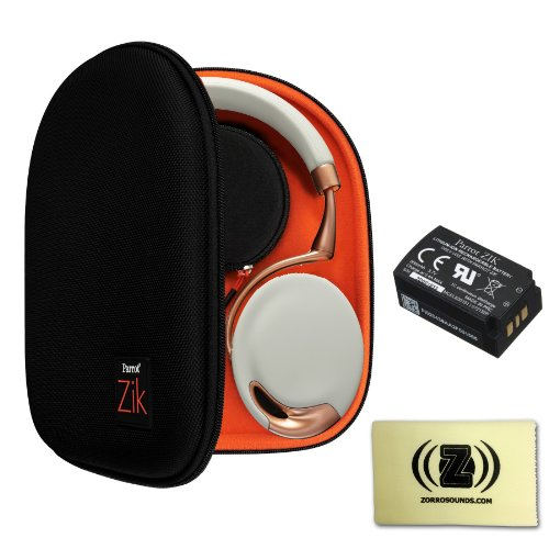 Parrot Zik Gold Collection Touch-Activated Bluetooth Headphones (Rose Gold) Bundle With Zik Case, Zik Battery And Zorro Sounds Cleaning Cloth