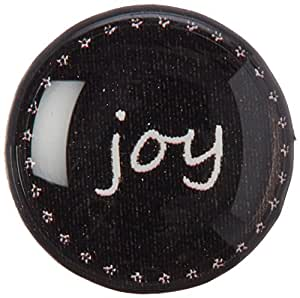 Graphics and More Joy on Black Home Button Stickers Fits Apple iPhone 4/4S/5/5C/5S, iPad, iPod Touch - Non-Retail Packaging - Clear