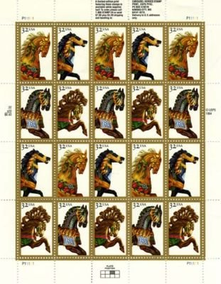 Carousel Horses 20 x 32 Cent U.S. Postage Stamps 1994