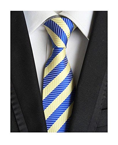 MINDENG Classic Striped Blue Yellow Jacquard Woven 100% Silk Men's Tie Necktie