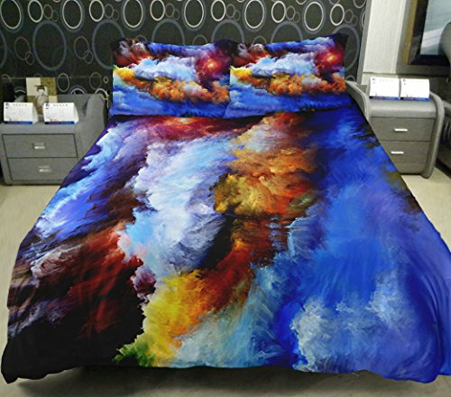 Anlye Luxury Bedding Set 2 Sides Printing Galaxy Duvet Covers Camouflage Bedding Galaxy Top Sheet With 2 Throw Pillow Covers Twin front-604599