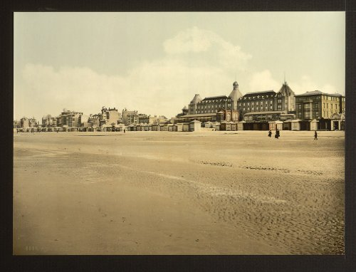 Vintage vista di spiaggia e casinò, malo-les Bains, Francia, Large A3misura 41by 29cm Tela Foto