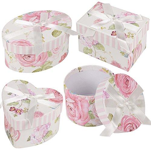 4pezzi set regalo per regali bigiotteria bracciale collana orecchini anello Storage Small Flowers With Ribbon