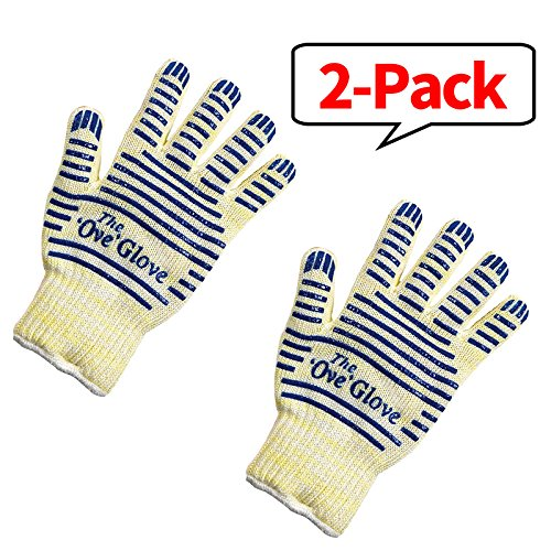 BHQ 2-Pack Cotton Oven Glove,Heat Resistant Surface Handler Charcoal Grill Accessory, Mitt SafeTouch Nitrile Exam Non Latex Smoker Fry Bake, Fireplace Smoking Powder Free for Baking Barbecue,Blue (Grill Accessories Smoker compare prices)