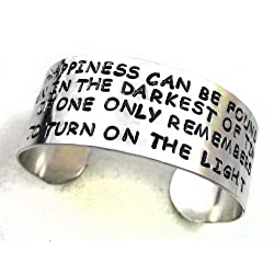 Dumbledore Wide Bracelet - Happiness Can Be Found... Hand Stamped Harry Potter Jewelry