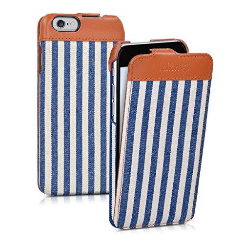 kalibri-Flip-Case-Hlle-Emma-fr-Apple-iPhone-6-6S-Aufklappbare-Stoff-und-Echtleder-Schutzhlle-Tasche-im-Flip-Cover-Style-im-Streifen-Design